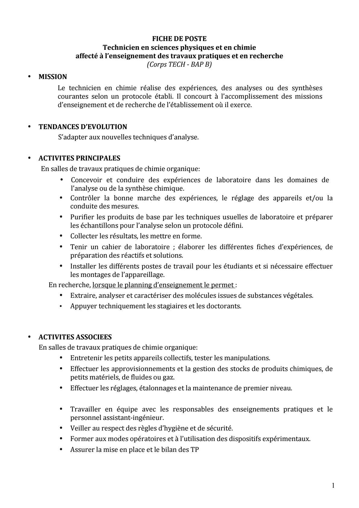 Recrutement D Un Technicien En Sciences Physiques Et En